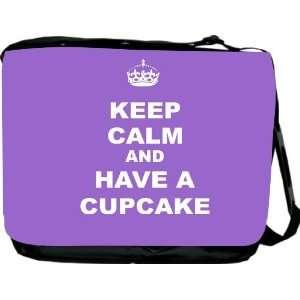 Calm and have a Cupcake   Violet Messenger Bag   Book Bag   School