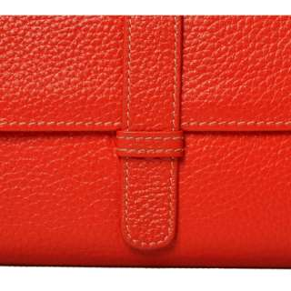 Soft real leather Ladys Wallet Purse Clutch bag, Black/red/orange