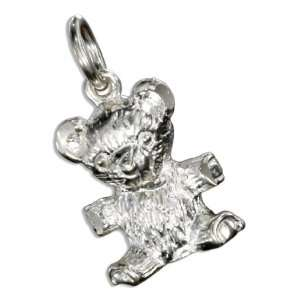 Sterling Silver Diamond Cut Teddy Bear Charm.: Jewelry