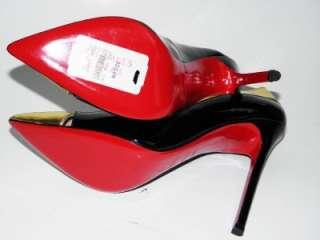 LOUBOUTIN Duvette Black Patent Gold Detail Pump Shoe 40.5 NIB