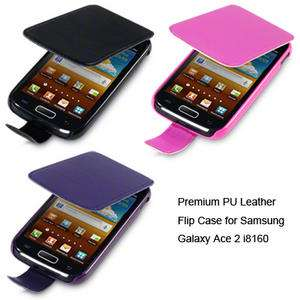 Premium PU Leather Flip Case for Samsung Galaxy Ace 2 i8160 / Black