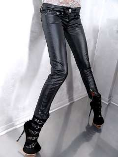 FIONA C NEU DAMEN STRETCH SEXY LEATHER LOOK SHINY JEANS HOSE PANTS
