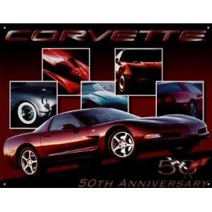 Chevrolet Chevy Corvette 50th Anniversary Tin Sign Poster