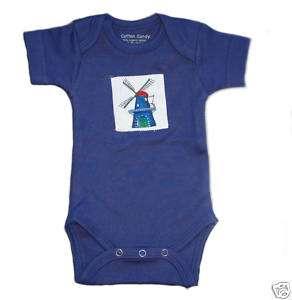 Holländische Baby Body Blau Niederlande Mühle 50 56