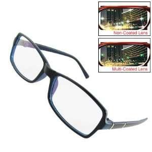 Dark Blue Plastic Frame Multi coated Lens Plano Eyeglasses Eyewear