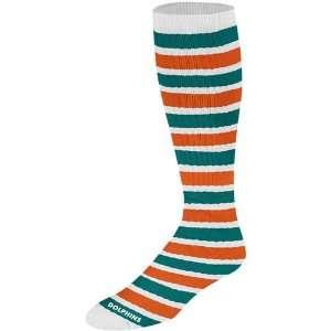 Miami Dolphins Womens Striped Tube Socks Medium Sports & Outdoors