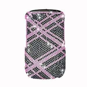 Sparkling Pink Black Cross Checker Full Diamond Rhinestone
