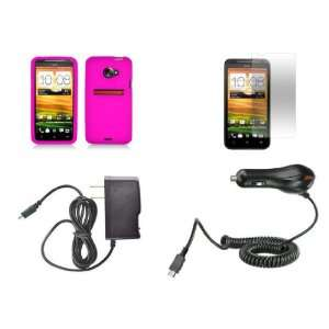 HTC EVO 4G LTE (Sprint) Premium Combo Pack   Hot Pink Silicone Skin