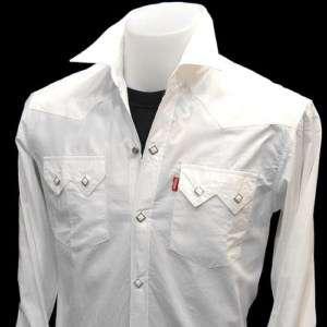 WESTERN PEARL SNAP RockaBilly CowBoy vTg Shirt White L
