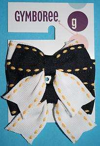Gymboree SUNFLOWER FIELDS Navy Blue White Hair Bow Clip NWT