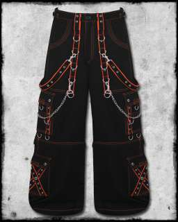 DEAD THREADS BLACK ORANGE GOTH RAVE CYBER TROUSER PANTS