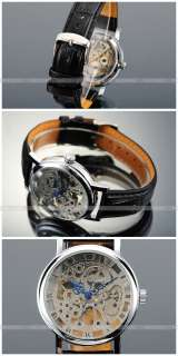 Auto/Automatic Skeleton/6 Hand Black/Silver Band Mens Watch