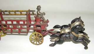 Rare Kenton Cast Iron Horse Drawn 316 Fire Ladder Wagon NO RESERVE