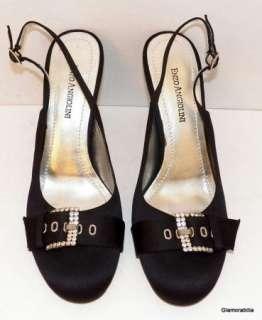 New ENZO ANGIOLINI Black Satin Evening Shoes, Rhinestone Buckle, sz 9