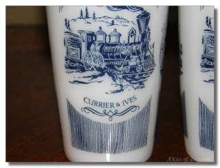 Hazel Atlas Milk White Glass Tumblers Currier & Ives Steam Traveler Su