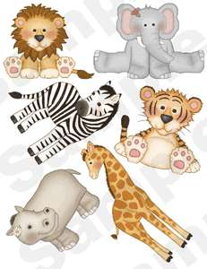 HIPPO ELEPHANT TIGER GIRAFFE JUNGLE NURSERY BABY WALL STICKERS DECALS
