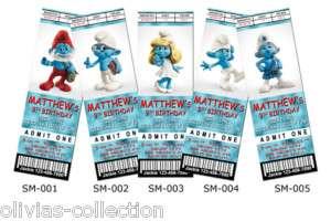 Personalized Birthday Invitation Ticket   Smurfs