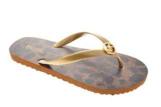 Michael Kors NEW MK Flip Flop Womens Flip Flops Sandals Gold Medium 7