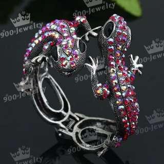 Double Lizards AB Red Crystal Bangle Bracelet Fabulous