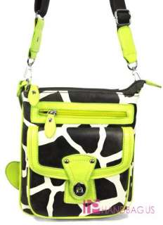 GREEN GIRAFFE ANIMAL PRINT MESSENGER HANDBAG WALLET SET