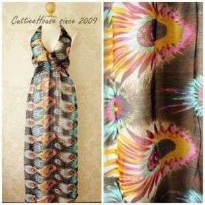 FascinateV Collar Peacock Print Maxi Dress Brown Gray