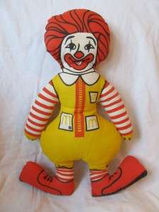Vintage 80s Ronald McDonald McDonalds pillow doll plush