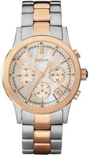 DKNY 2 TWO TONE ROSE GOLD,SILVER STEEL+MOP DIAL,CHRONOGRAPH WATCH