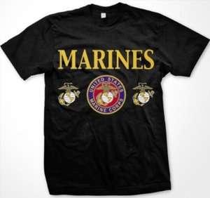 States Marine Corps Womens Ladies T Shirt USMC Portal Emblem USA Tees