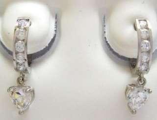 14K Solid White Gold Dangle Heart Huggie Huggy Hoop 10mm Earrings CZ