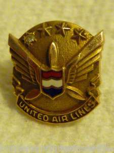 Diamonds United Airlines 10k Employee Service Pin UAL
