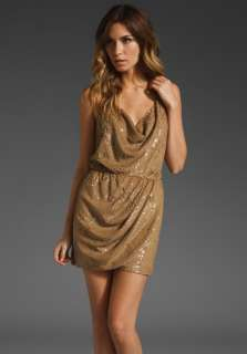 HAUTE HIPPIE Sequin Halter Cowl Dress in Taupe