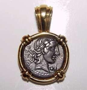Roman Republic 90BC APOLLO MINERVA CHARIOT Silver Coin