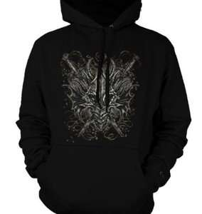 Head Sweatshirt Armored Mask Swords Sliver Tattoo Pullover Hoody
