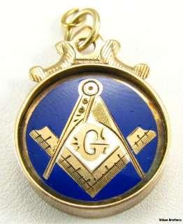Masonic Estate Charm 10k Gold Enamel Symbol Fob Pendant