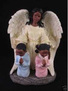 Black African American Guardian Angel Praying Children
