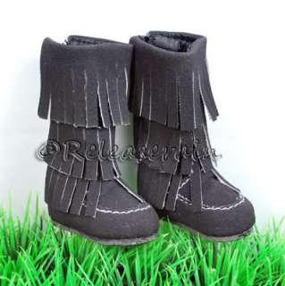 Dollfie DOB Shoes Suede Fringe Moccasin Boots Black