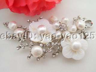 WOW White Pearl&Shell Flower Brooch