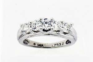 Ladies Five Stone Diamond Ring 14k White Gold