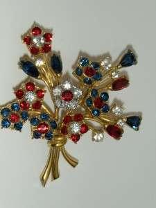 Vintage Weiss Patriotic Red White Blue Rhinestone Flower Brooch Pin