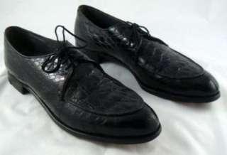 Vintage Nettleton Mens Black Alligator Oxfords 13AAA