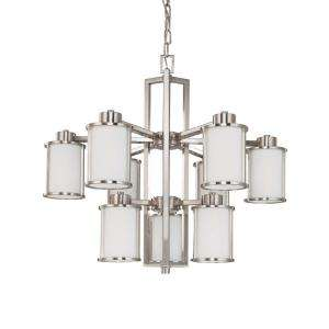 Glomar Odeon 9 Light Hanging Brushed Nickel Chandelier HD 3809 at The