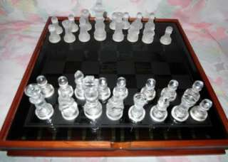 Vintage Chess Backgammon dominoes checkers game set glass & wood case