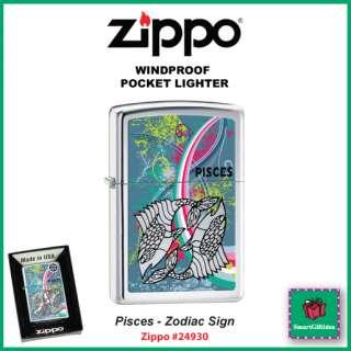 PISCES_ZODIAC SIGN_FEB 19   MAR 20_HIGH POLISH CHROME ZIPPO LIGHTER
