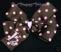 Embroidered Initial Hair Bow Brown Pink Monogrammed