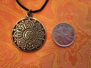 SOLID BRASS OM 8 AUSPICIOUS SYMBOLS PENDANT TIBETAN BUDDHIST