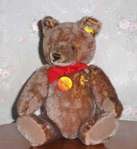 Original Taupe Mohair Teddy Bear 1970s Original Tags Displayed