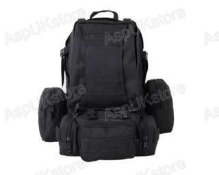 Large Assault Backpack Bag with Molle Pouches Black G