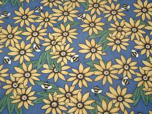 Yard DAISY BUMBLE BEE Fabric DEBBIE MUMM for SSI