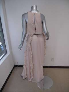 Tibi Baby Pink Sleeveless Ruffle Side Full Length Dress W/Silver