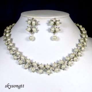 Swarovski Crystal Pearl Bead Choker Necklace Set S1542S